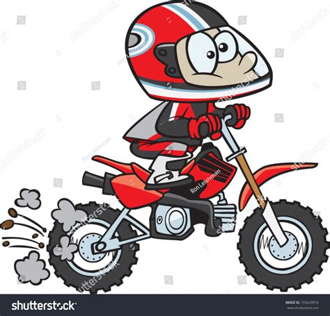 Motocross Motorrad Comic by Dirt Bike Rider Stock Vector 155620916