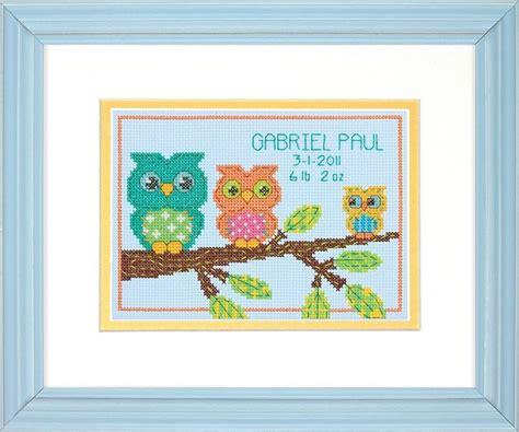 Birth Record Dimensions Owl Mini Birth Record Counted Cross Stitch Kit New Ebay