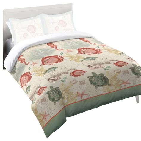 beach style comforter sets laural home coral seaside postcard comforter queen