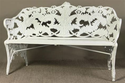 white iron bench a swedish white painted cast iron garden bench by j c g