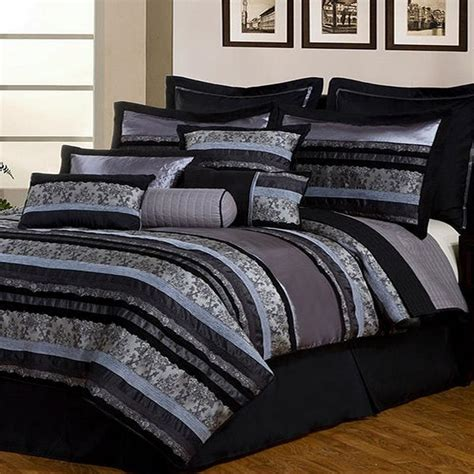 Cal King Bed In A Bag Sets Pheonix Home Noir Black 12 Cal King Comforter Bed In A Bag Set Black Gray