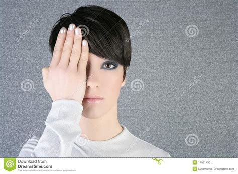 libro hand to eye contemporary modern fashion woman portrait hand hide eye stock photo image 14061450
