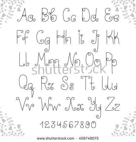 latin alphabet decorative lowercase uppercase fonts stock - Decorative Font Lowercase