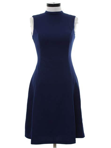 Knit Princess Dress Navy no label seventies vintage dress 70s no label womens navy blue background polyester