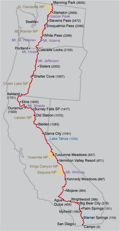 map of oregon pacific crest trail pacific crest trail