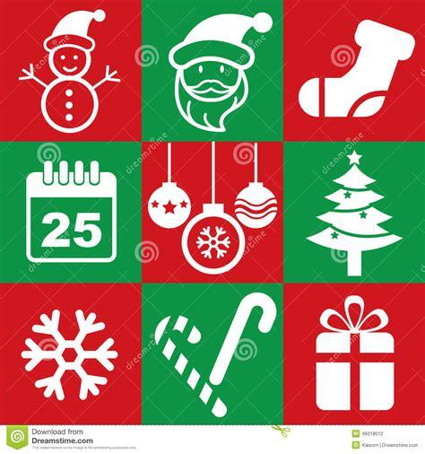 printable christmas icons christmas icon stock vector image 46018012