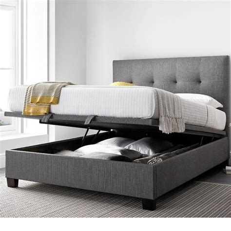 bed and mattress yorkie grey fabric ottoman bed