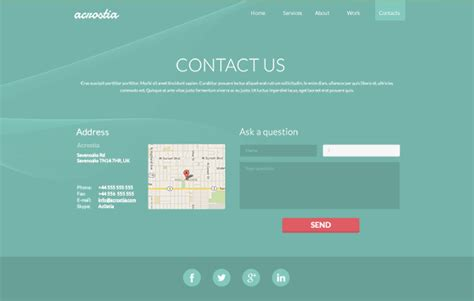 website templates for contact us pages free one page website template psd acrostia creative beacon