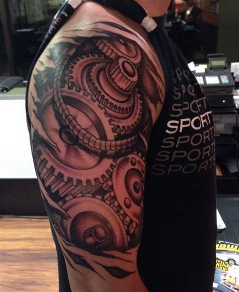 real looking tattoos realistic looking black and white big mechanical on