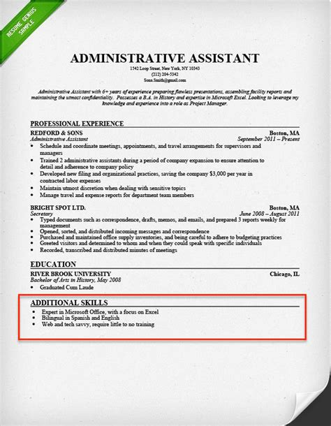 Additional Skills Resume by Additional Skills For Resume Www Nyustraus Org Exaple