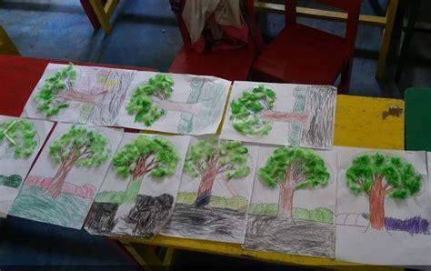 membuat yel yel untuk kelas kreasi bentuk pohon berdaun kapas berwarna dunia belajar