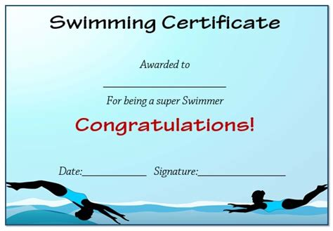 30 Free Swimming Certificate Templates : Printable Word