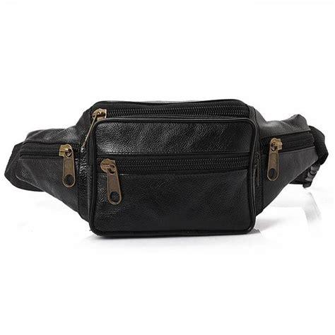 retro genuine leather waist bag pack