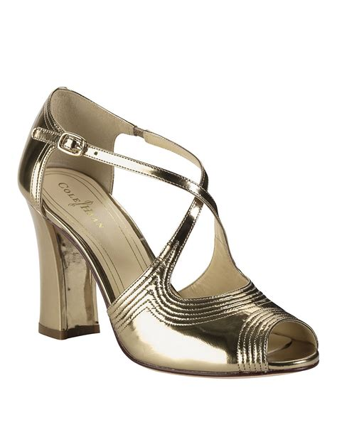 cole haan high heels cole haan jovie metallic leather high heel sandals in gold