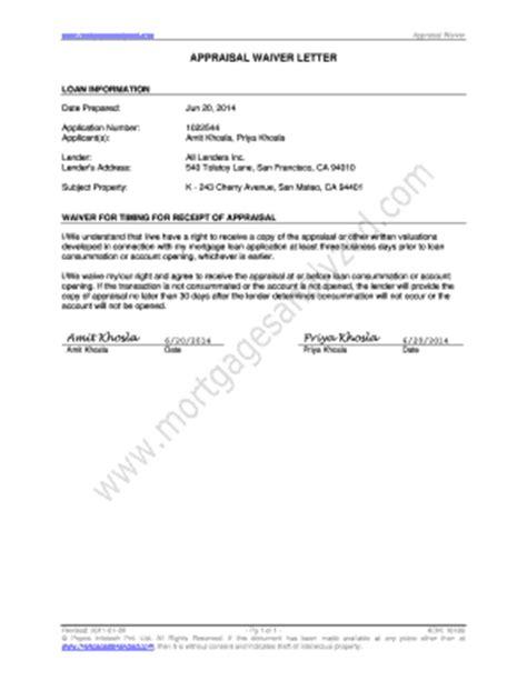 Appraisal Protest Letter fillable appraisal waiver letter sle appraisal