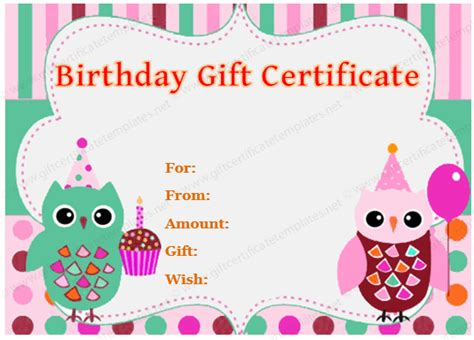 birthday gift card design template birthday gift certificate owl design