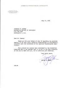 Letter from the american psychological association to frank kameny and