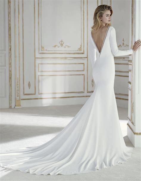 Sale Longdres Crep Kotak sleeve crepe wedding dress palas by la sposa