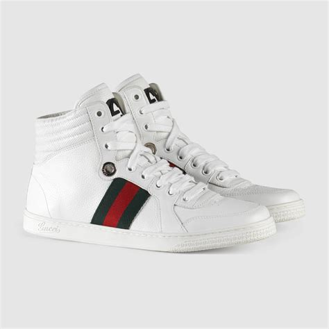 Guc Ci Leather White gucci high top leather sneaker in white white leather lyst
