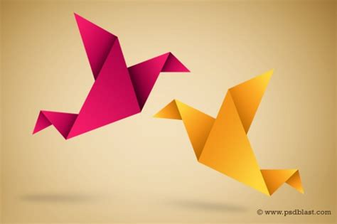 Paper Birds - origami birds illustration with paper fold vector free