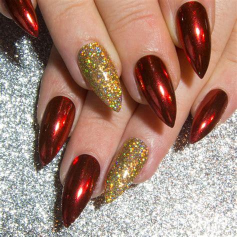 Nägel Rot by Rot Chrom N 228 Gel Stiletto Falsche N 228 Gel Weihnachten Falsche
