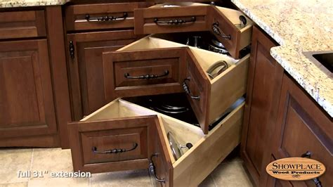 corner cabinet drawers kitchen square corner three drawer base showplace kitchen convenience accessories youtube