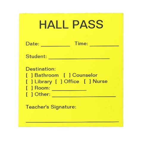 hallway pass hall pass pad zazzle