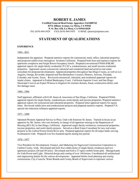 how to write a statement of qualifications exles simple resume template
