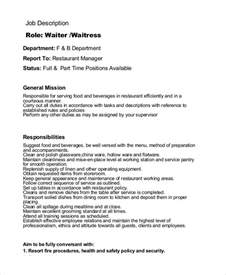 Waiters Description by Doc 600730 Waitress Description 6 Waitress Descriptions Free Sle Exle Format
