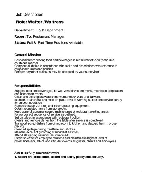 restaurant waiter cv sle waiter description resume template sle