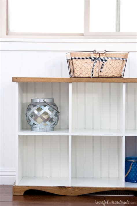 farmhouse console table diy  cube bookcase houseful