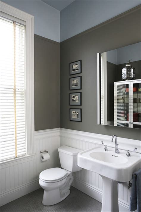 bathroom gray walls bead board gray walls first floor bath