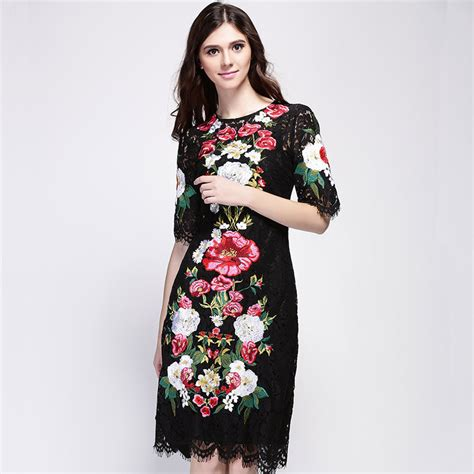 Black Lace Flower S M L Blouse 40708 lace flowers embroidery luxury sleeve knee length