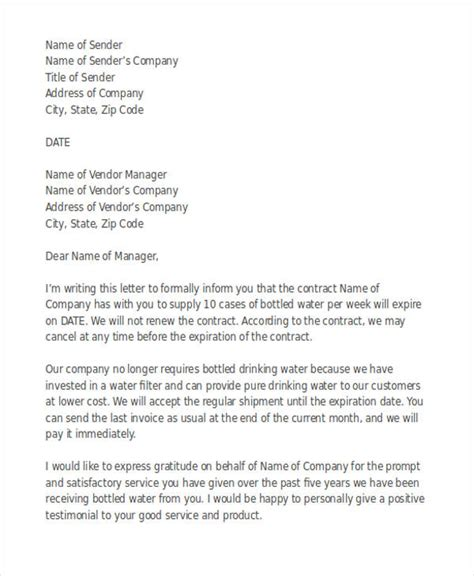 Draft Contract Termination Letter Vendor 53 termination letter exles