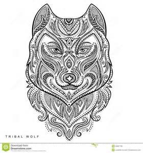 Illustration de vecteur tatouage tribal de totem de loup de style de