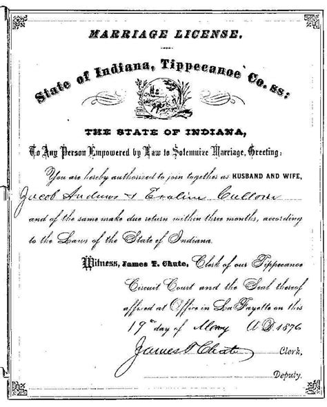 Tippecanoe County Marriage Records Tippecanoe Co In Marriages