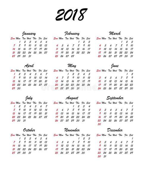 Kalender 2018 Per 4 Weken Kalender 2018 Jaar De Week Begint Zondag De V S Vector