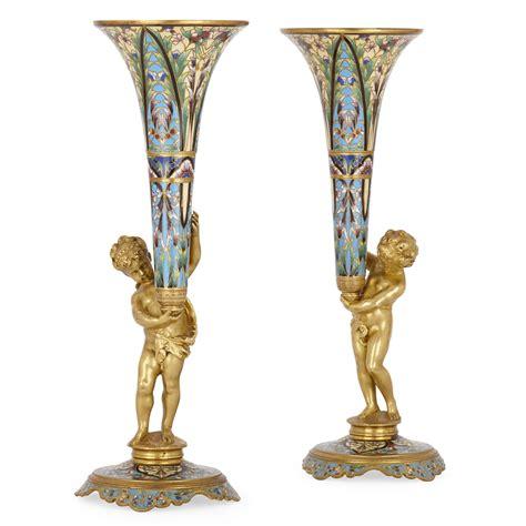 Ormolu Vase by Pair Of Ormolu And Chlev 233 Enamel Antique Vases