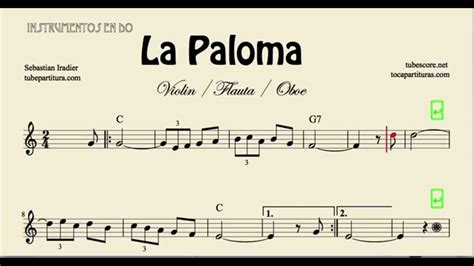 tutorial piano la paloma la paloma partitura de violin flauta y oboe youtube