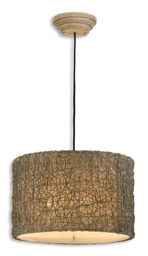 Rattan Pendant Lights Uttermost 21105 Knotted Rattan Light Drum Pendant 283 80