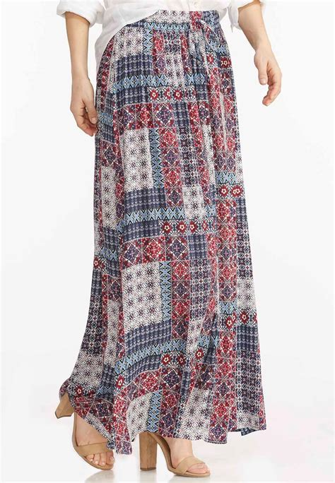 Plus Size Patchwork Skirt - patchwork print maxi skirt plus skirts cato fashions