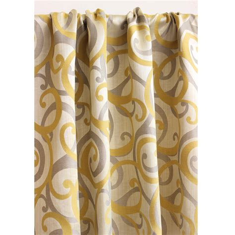 yellow blackout curtains yellow grey scrolls grommet blackout lined curtain in