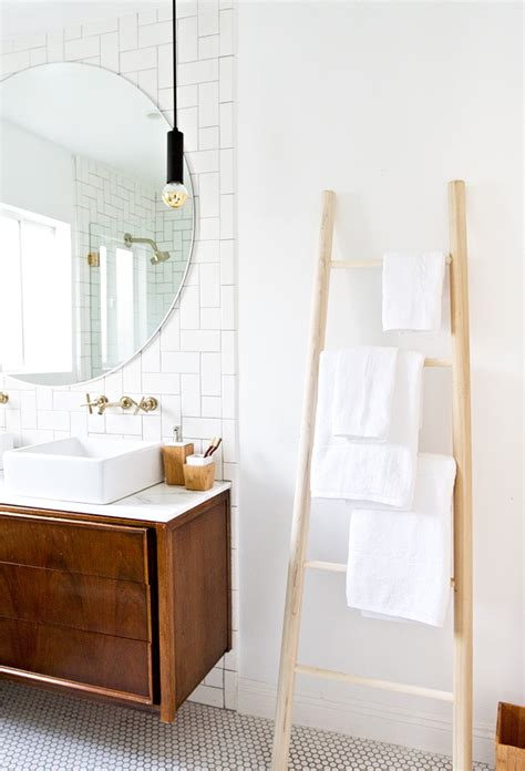 ladder for bathroom sarah sherman samuel bathroom refresh diy towel ladder