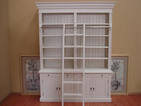 furniture white wood bookcase with shutter pattern