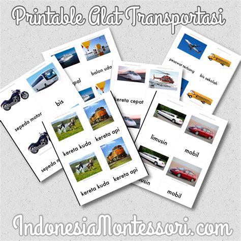 printable indonesia montessori mengenalkan berbagai alat transportasi