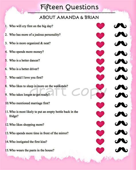 Bridal Shower Game 15 Questions by 31Flavorsofdesign on