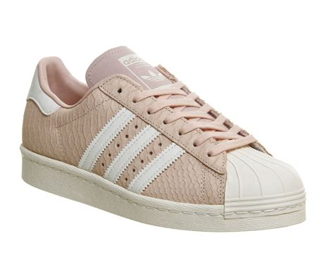 mens adidas superstar 80s blush pink white trainers shoes