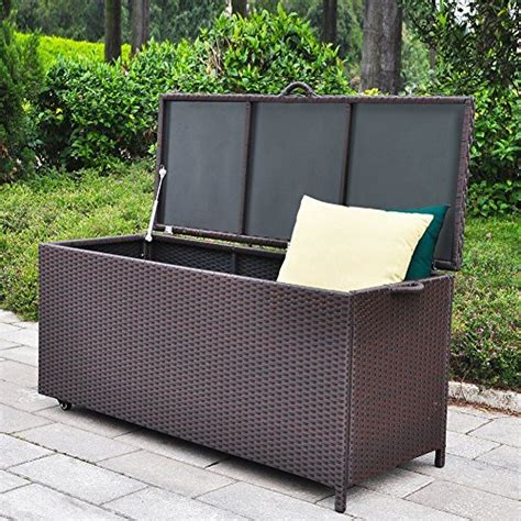 outdoor furniture with storage outdoor patio wicker storage container deck box made of antirust aluminum frames and resin