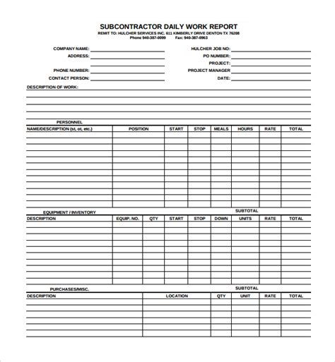 free daily report template sle daily work report template 7 free documents in pdf