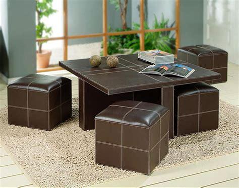 mesas de centro con taburetes mesa de centro polipiel 4 taburetes